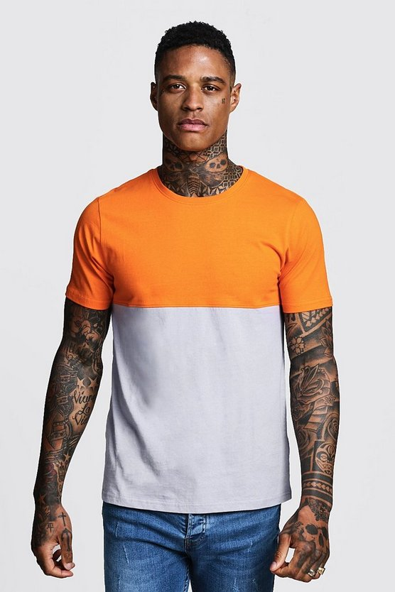 Mens Orange Regular Jersey Colour Block Tee