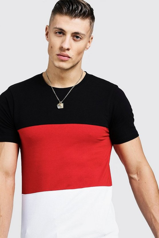 Mens Red Muscle Fit Colour Block Jersey Tee