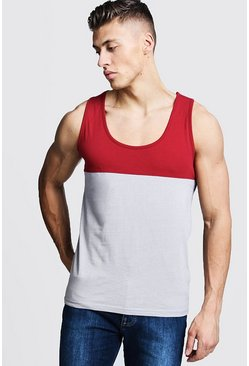 Mens Red Regular Colour Block Jersey Vest