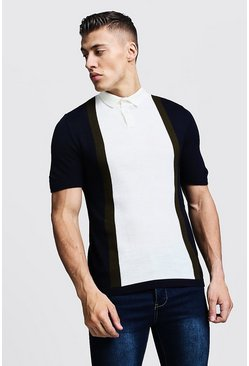 Mens Navy Short Sleeve Colour Block Knitted Polo