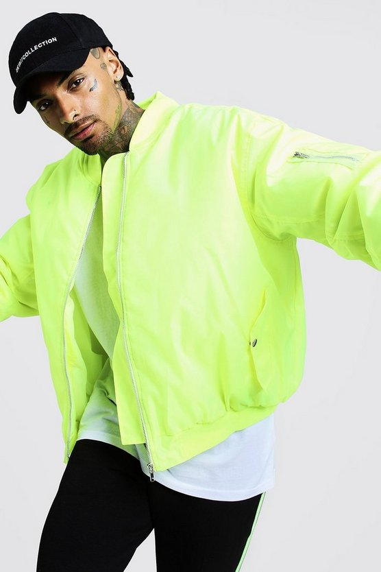 Neon-yellow Oversized Padded MA1 Bomber Jacket