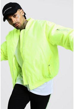 Oversized Padded MA1 Bomber Jacket, Neon-yellow, Uomo