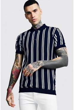 Mens Navy Vertical Stripe Short Sleeve Polo