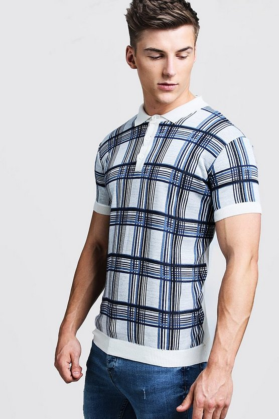 Mens Ecru Check Knitted Short Sleeve Polo