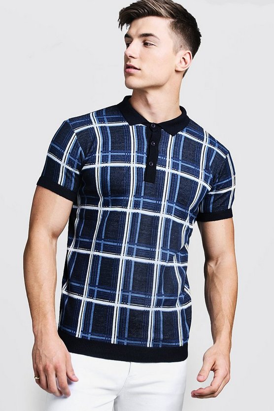 Check Knitted Short Sleeve Polo, Ecru, Uomo
