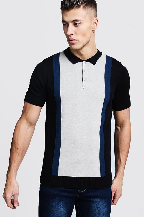 Mens Black Colour Block Knitted Short Sleee Polo