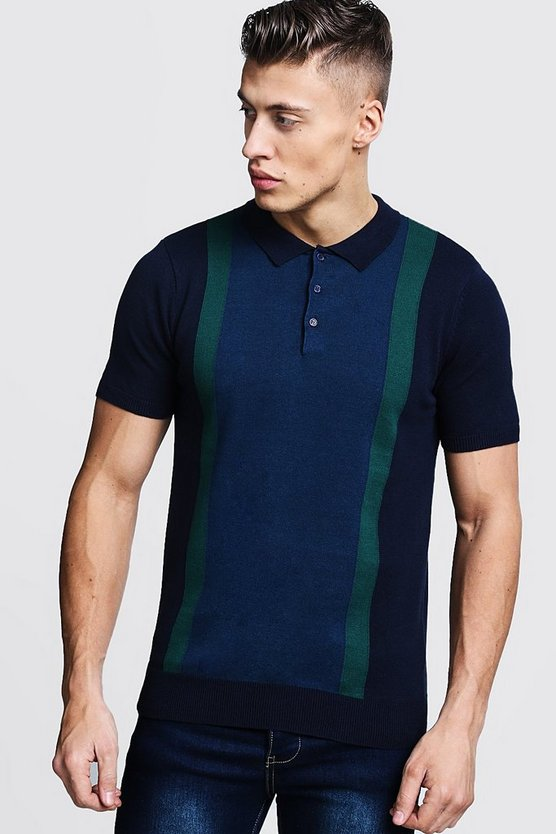 Mens Navy Colour Block Knitted Short Sleee Polo