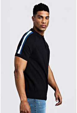 Arm Stripe Short Sleeve Polo, Black, Uomo