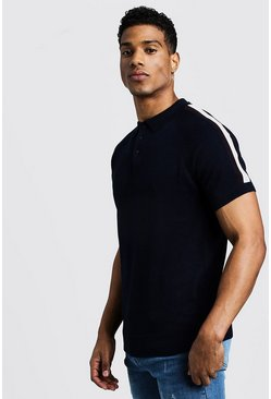 Mens Navy Arm Stripe Short Sleeve Polo