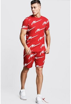 Mens Red All Over MAN Printed T-Shirt & Short Set