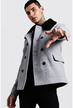 Mens Grey Borg Collar Wool Blend Pea Coat
