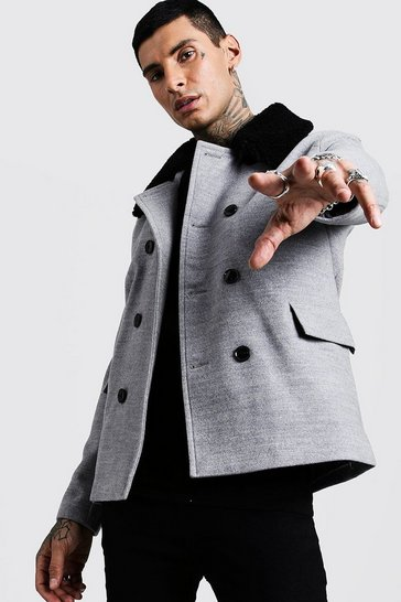 Grey Borg Collar Wool Blend Pea Coat