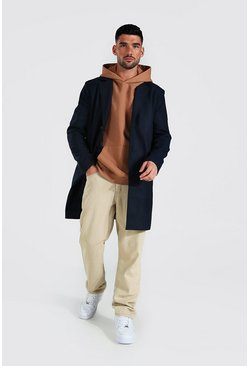 Mens Navy Single Breasted Wool Mix Overcoat