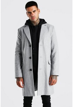 Herr Grey Single Breasted Wool Mix Overcoat