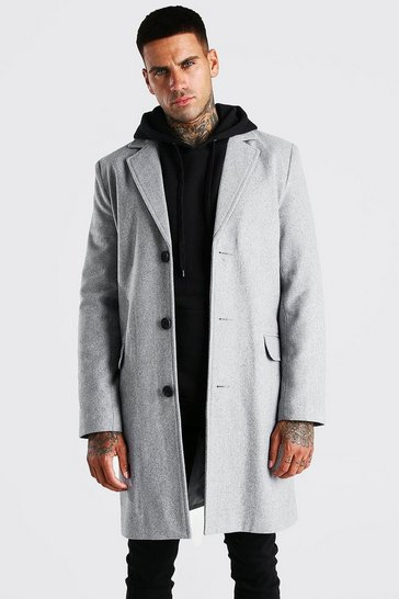 Mens Grey Single Breasted Wool Mix Overcoat