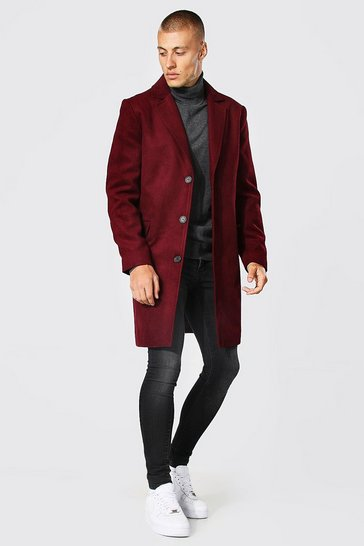 Mens Burgundy Single Breasted Wool Mix Overcoat