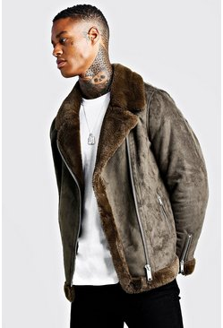 Mens Khaki Faux Fur Lined Suede Aviator