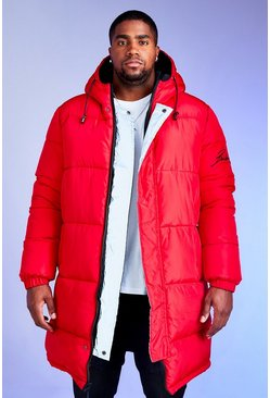 Mens Red Big & Tall Longline Reversible Puffer