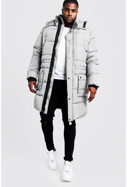 Mens Grey Big & Tall Hand Filled Longline Arctic Puffer