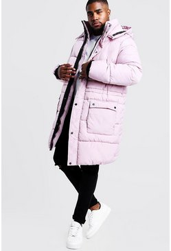 Pink Big & Tall Hand Filled Longline Arctic Puffer