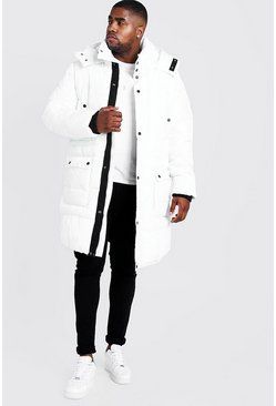 Mens White Big & Tall Hand Filled Longline Arctic Puffer