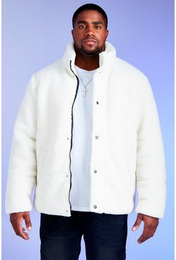 White Big & Tall MAN Borg Puffer Jacket