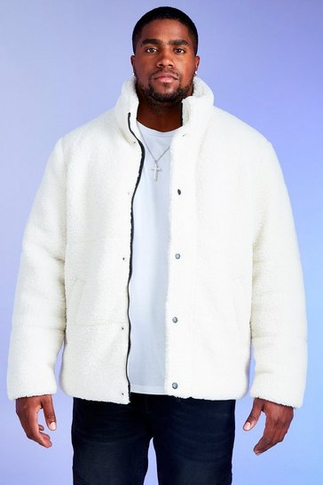 Mens White Big & Tall MAN Borg Puffer Jacket