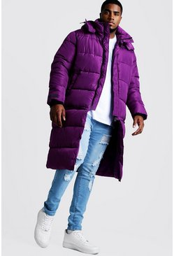 Mens Purple Big & Tall Longline Zip Off Puffer