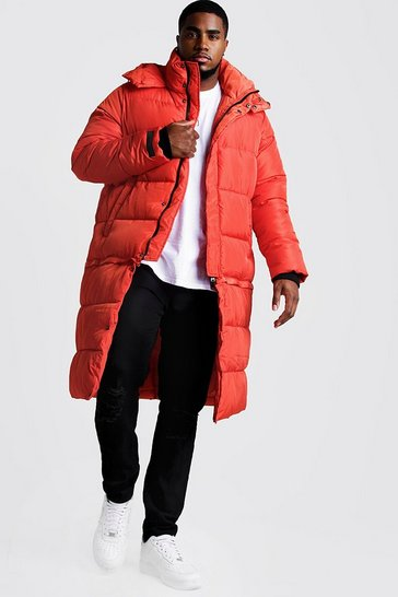 Mens Orange Big & Tall Longline Zip Off Puffer