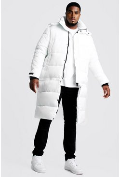 Mens White Big & Tall Longline Zip Off Puffer