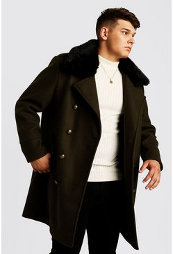 Mens Khaki Big & Tall Faux Fur Collar Coat