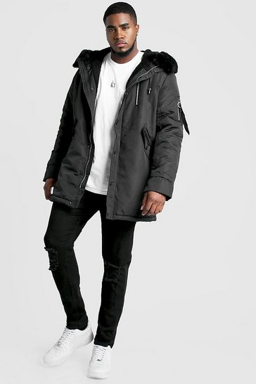 Mens Black Big & Tall MAN Parka With Faux Fur Hood