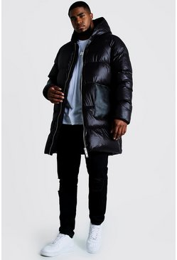 BIG & TALL Longline Puffer Jacke in matter Optik, Schwarz, Herren