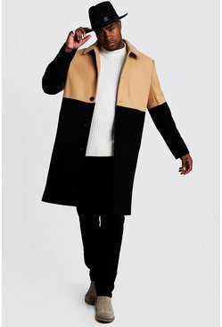 Mens Camel Big & Tall Wool Look Colour Block Coat