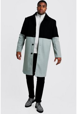 Black Big & Tall Wool Look Colour Block Coat