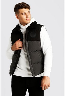 Grey Big & Tall Hand Filled Sleeveless Puffer
