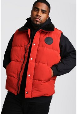 Mens Orange Big & Tall Hand Filled Sleeveless Puffer