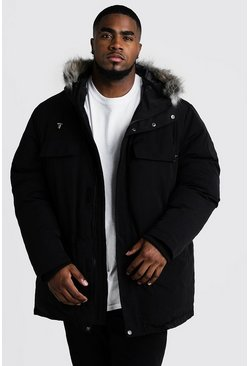 Mens Black Big & Tall Faux Fur Hooded Arctic Parka