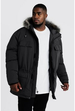 Mens Charcoal Big & Tall Faux Fur Hooded Arctic Parka