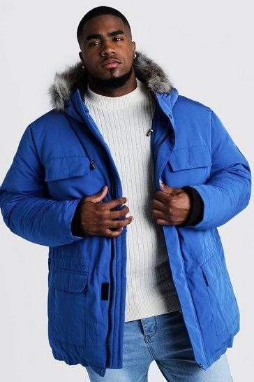 Mens Cobalt Big & Tall Faux Fur Hooded Arctic Parka
