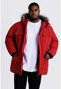 BIG & TALL Arctic Parka mit Fake-Fur-Kapuze, Red, Herren