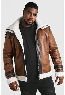 Mens Tan Big & Tall Double Collar Flight Jacket