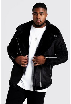 Mens Black Big & Tall Faux Fur Lined Suede Aviator
