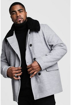 Grey Big & Tall Borg Collar Wool Blend Pea Coat