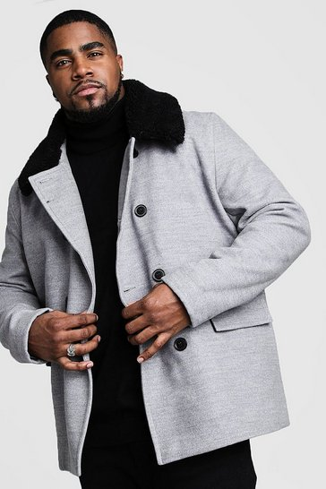Mens Grey Big & Tall Borg Collar Wool Blend Pea Coat