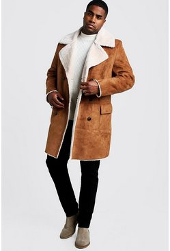 Mens Tan Big & Tall Longline Faux Fur Double Breasted Overcoat