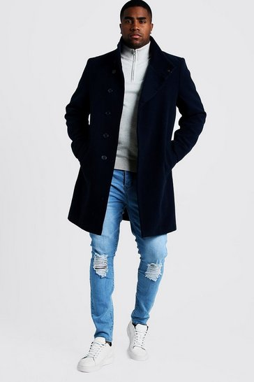 Navy Big & Tall Funnel Neck Wool Look Overcoat