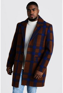 Mens Tobacco Large Check Single Breasted Overcoat
