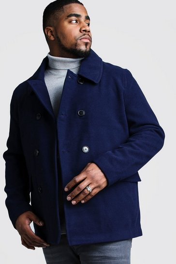 Mens Navy Big & Tall Classic Wool Look Pea Coat