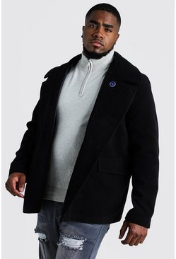 Mens Black Big & Tall Classic Wool Look Pea Coat